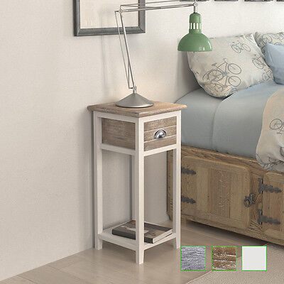Wooden Bedside Table Lamp Cabinet Nightstand w/ Storage Drawer Grey/Brown/White