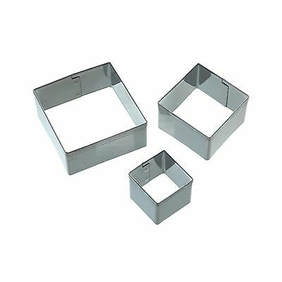 Fondant Cutter-Square Shape Set of 3- Pastry Marzipan Sugarpaste- Kitchen Craft