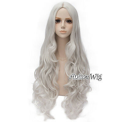 Lolita Silver Grey Long 80CM Curly Fashion New Party Cosplay Wig + Wig Cap