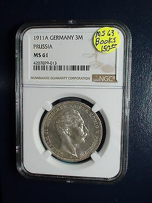 1911 A Germany 3 Mark NGC MS61 PRUSSIA 3M SILVER Coin PRICED FOR QUICK SALE NOW!
