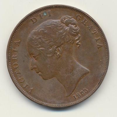 1853 young Victoria penny.  Very high grade coin large scans