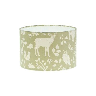 Woodland Green Stag Deer Fox Drum Lampshade lightshade 20cm 25cm 30cm 35cm 40cm