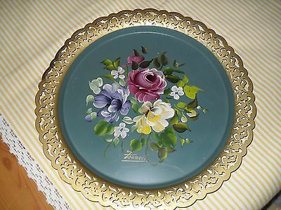 Vintage Green Metal Handled Toleware Floral Filigree Tray 12 inch Diameter