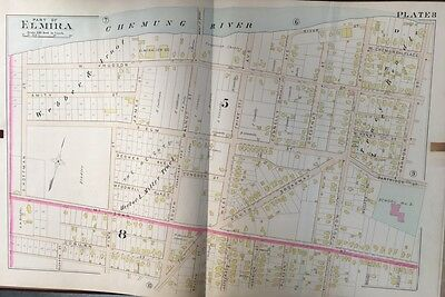 NY MUELLER ACADEMY OF OUR LADY OF ANGELS COPY PLAT ATLAS MAP ELMIRA 1896 A.H