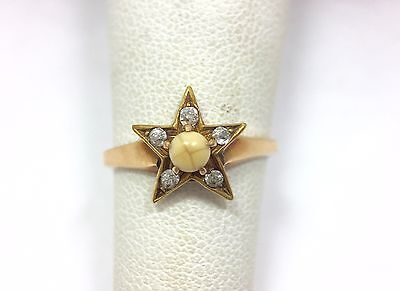 Antique Diamond Accent Star Moose Lodge Ring Size 6 10k Yellow Gold 417 FMGE