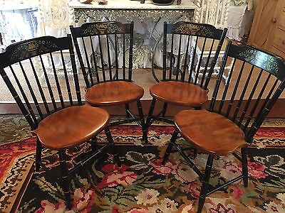 Set 4~Pre-Owned Vintage Fan top HITCHCOCK CHAIRS~Theorem Stencil~Windsor~MAPLE