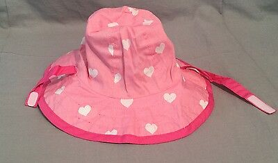 """Pottery Barn Kids Pink Heart Reversible Hat+Diaper Covers """"A"""" Mono 6-12 Months"""