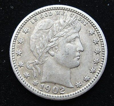 1902 P Barber Silver Quarter * Looks XF *