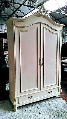 A Beautiful Period Carved Painted Armoire/hanging Cupboard