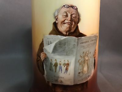 Hand Painted GUERIN LIMOGES Porcelain Tankard FRIAR or MONK READING NEWSPAPER