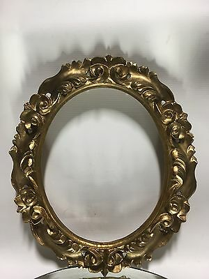 "VTG.13 1/2"" Oval Italian Florentine Rococo Carved Wood Gilt Picture Frame Lot#1"
