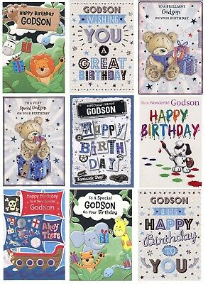 Cute Or Tradtional Godson Birthday Card Various Designs 1St Pp Greeting