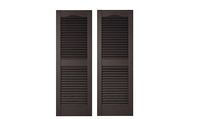 New 15 in. x 55 in. Louvered Vinyl Exterior Shutters Pair in #002 Black