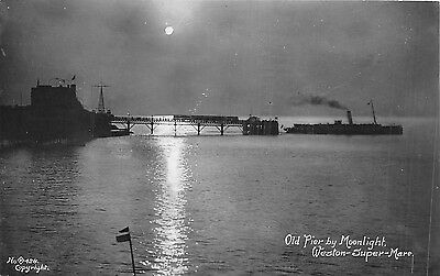 POSTCARD  SOMERSET  WESTON - SUPER - MARE   Old  Pier  by  Moonlight   RP
