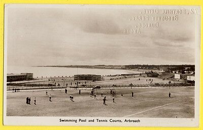 Old Postcard SCOTLAND ÉCOSSE Swimming POOL and TENNIS Courts ARBROATH Piscine