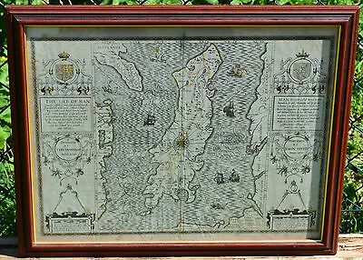 A Rare Genuine John Speed Map of the Isle of Man c.1614-16 - English Edition