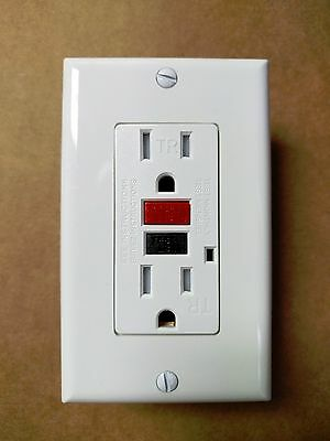 15A Tamper Resistant TR GFCI Outlet Receptacle 15 Amp White w/ Red Black Buttons