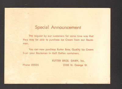 Undated Advertising Card Special Announcement Rutters Bros Dairy Ice Cream PA