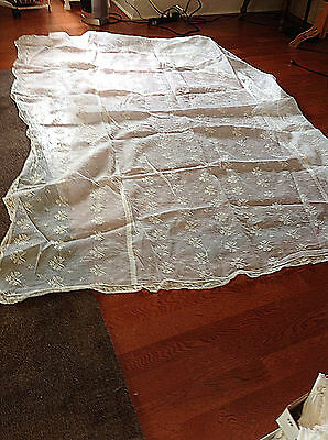 ANTIQUE White Organdy Twin Bedspreads Embroidered Gorgeous!