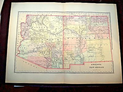 1889 Map, Arizona & New Mexico, Plate 57, Bradley'S Atlas Of The World