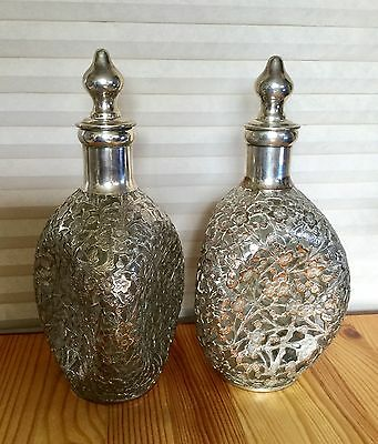 Antique 1850's Chinese Export Silver Overlay Pinch Bottle Whiskey Decanters