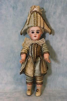 """Antique 12"""" French Tete Jumeau Doll Polichinelle Outfit St Wrists Skin Wig 1886"""