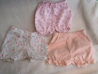 3 Pairs of Baby Bloomer Shorts. Age 3-6 months.