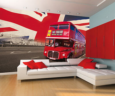 London Bus Union Jack Wall Mural 232Cm X 315Cm Red Feature Wall New Free P+P