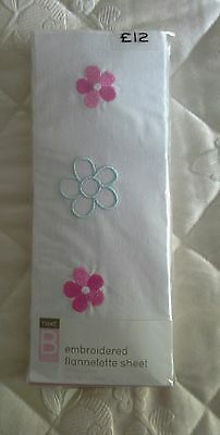 Pretty NEXT Embroidered White Flannelette Cot/Cot Bed Sheet NEW in packet