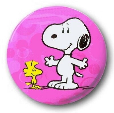 SNOOPY & WOODSTOCK - 1 inch / 25mm Button Badge - Novelty Charlie Brown PINK