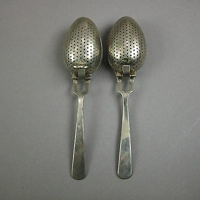 Antique Pair of Silver Plated Steeping Spoons