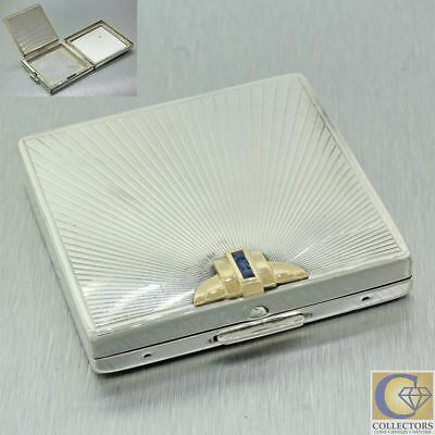 Tiffany & Co. Sterling Silver 14K Yellow Gold with Sapphire Makeup Compact