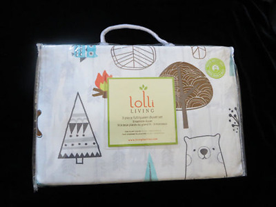 Lolli Living Lil Voyager 3PC Full/Queen Duvet Set: Nature Outdoor Bears