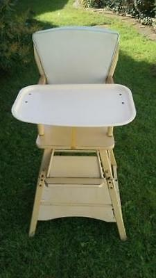 Lovely Vintage/retro Wooden Metamorphic High Chair Converts To Desk & Chair