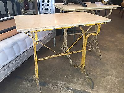 Vintage French Marble Top Table Iron Base
