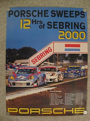 2000 Porsche 12 Hours of Sebring Victory Showroom Advertising Sales Poster RARE!