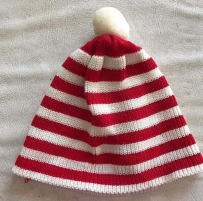 boys girls WHERE'S WALDO knit WINTER HAT red white stripes ONE SIZE FITS MOST @@