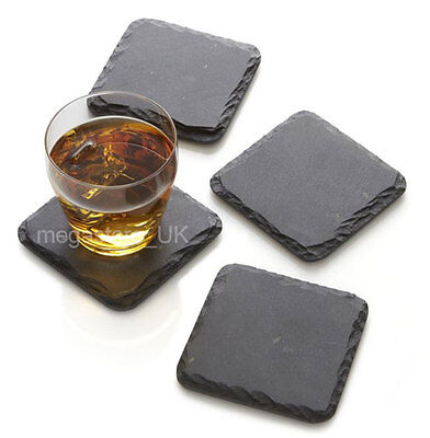 6 pieces Rustic Natural Slate Table Mat Coffee Tea Drink 10x10cm Square Coasters