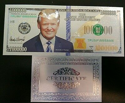 Trump 1Million Dollar 999 Silver Bank Note With COA NEW!
