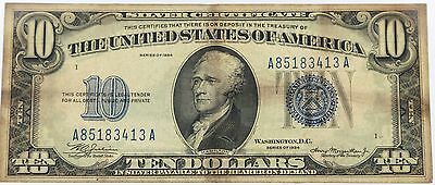 1934 $10 Ten Dollar US Green Seal Federal Reserve Note Bill B80550324A