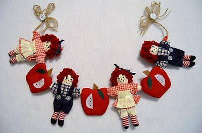 Raggedy Ann & Andy Primitive Fabric Swag With Apples~Teacher Gift~New