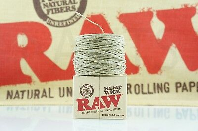 AUTHENTIC RAW ROLLING PAPER HEMP WICK KING SIZE 100 ft / 30.5 meters