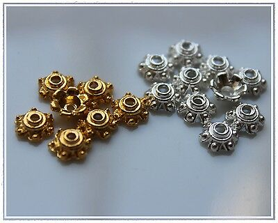 100 Cap beads Bead caps Silver Gold 6 mm End caps Tinker