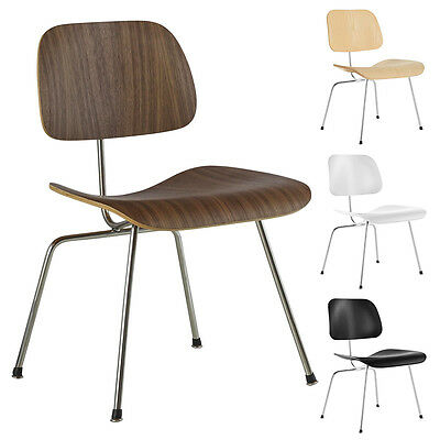 Molded Plywood Dining Chair Metal Leg Base Mid Century Wooden Guest Chair Modern