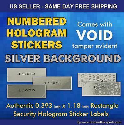 """100 Void if removed 0.393"""" X 1.18"""" Rectangle  Numbered Security Hologram sticker"""