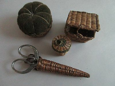 vintage,antique,LOT,sewing,baskets,scissor & thimble holder,Pin cushion,CUTE LOT