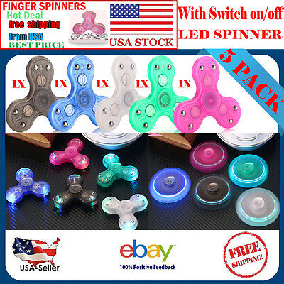 LOT OF 5 LED Tri Spinner Fidget Finger Spin Stress Hand Desk Toy EDC ADHD Autism