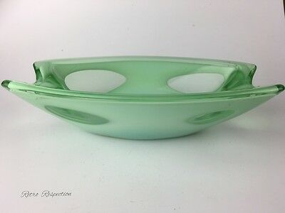 Small Opaline and Clear Green Glass Dish