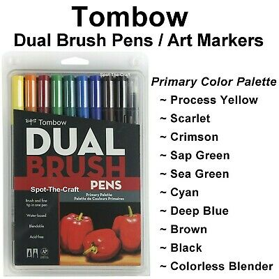 Tombow Dual Brush Pen Set Art Markers 10 Primary Colors 56167
