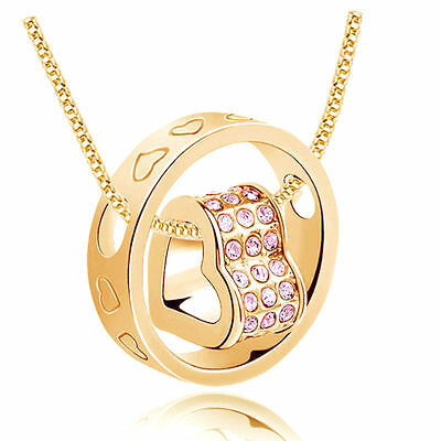 NEW Women Fashion Heart Purple Crystal Gold Charm Pendant Chain Necklace OB02S8